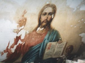 Иверский храм. Реставрация живописи. Ротонда. Купол до реставрации. Фото 2