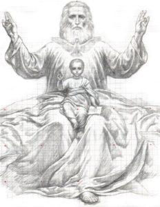 Иверский храм. Ротонда. Эскизы воссоздания живописи сводов конхи главного алтаря. Рисунок 1