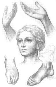 Иверский храм. Ротонда. Реставрация фигур ангелов. Эскизы. Фото 5