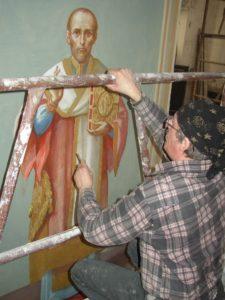 Иверский храм. Ротонда. Работа над созданием образов святителей Иоанна Златоуста и Василия Великого. Фото 18