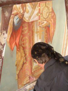 Иверский храм. Ротонда. Работа над созданием образов святителей Иоанна Златоуста и Василия Великого. Фото 19